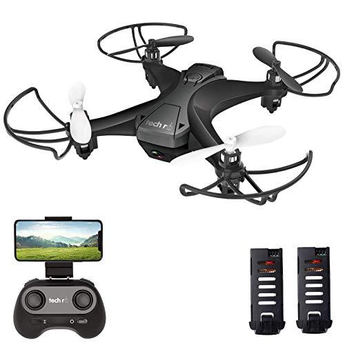 tech rc Mini Drone con Telecamera HD con Due Batterie Funzione di Sospensione Altitudine Un Pulsante di Decollo/ Atterraggio ,modalità Senza Testa Protezioni 360°per Bambini e Principianti Buon Regalo