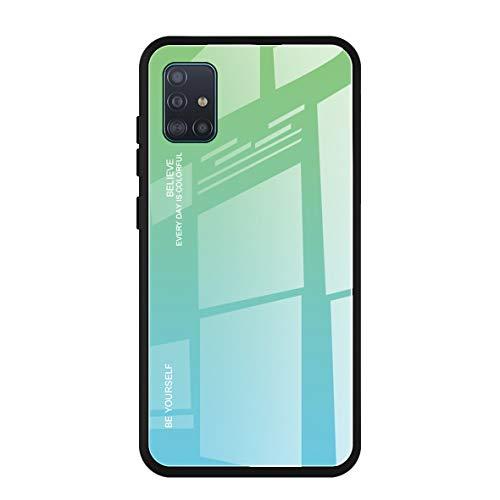 Alihtte - Carcasa protectora para Samsung Galaxy A51 de cristal templado 9H con marco flexible de silicona de poliuretano termoplástico y cristal templado