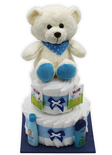 """Große Windeltorte/Windelgeschenk""""blauer Bär"""" für Jungen mit Teddybär - Geschenk zur Geburt + gratis Glückwunschkarte"""