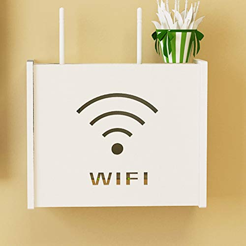 DFWYG Home PVC Router Storage Box Wall-Mounted Set-top Box Bracket Cover Box WiFi Router Shelf Protector Hider Shielding Storage Shelf, White,WiFi
