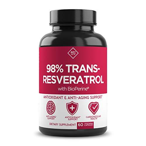 41QsE5RbVsL - New Ultra Therapeutic Resveratrol Supplement - 98% Trans Resveratrol Plus BioPerine - Antioxidant Supplement for Anti Aging and Longevity - 60 Capsule Reservatrol Supplement