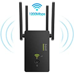 [EXTEND WIFI COVERAGE] - Boosts Internet WiFi Coverage up to 2000 Sq.ft . Extend the range of your Wi-Fi with the dual-band AC1200, compatible with any Router / Gateway / Access Point ( 2.4GHz - 300Mbps / 5GHz - 867Mbps ) [ELIMINATE WIFI DEAD ZONES] ...