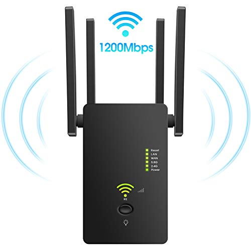 Superboost WiFi Extender Signal Booster, Long Range up to 2500 FT, 1200 MBPS Wireless Internet Amplifier - Covers 15 Devices with 4 External Advanced Antennas, LAN/Ethernet