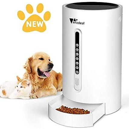 amzdeal Distributore Automatico di Cibo per Cani Gatti – Alimentatore Automatico 4,6 L con 16 Secondi di Registrazione, Timer Programmabile e Sensore a Infrarossi, Display LCD, 4 Pasti al Giorno