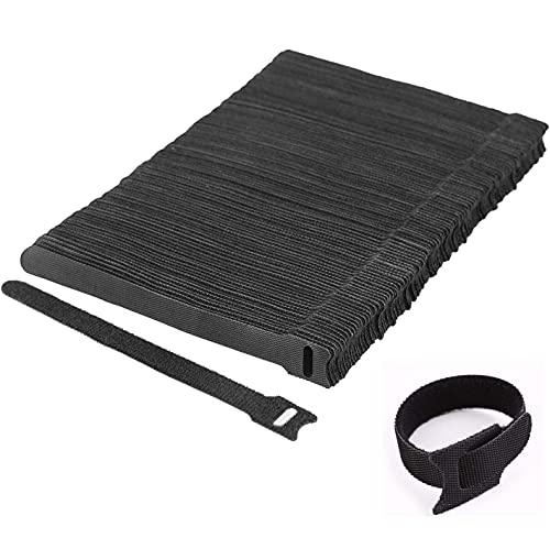 Sunnysam Cinta de velcro para cables, bridas de color negro, autoadhesivas, resellables...