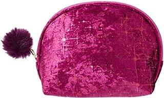 Ulta Beauty Makeup Cosmetic Bag Cranberry Crushed Velvet with Metallic Flecks and Pompom Zipper Pull