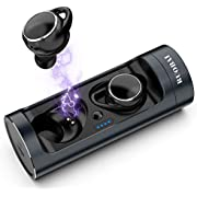 RUOBAI Bluetooth Wireless Earphones Premium Stereo Sound,Bluetooth 5.0 True Wireless Earbuds Up to 18 Hours Play Time with Portable Charging Case,Bluetooth Earbuds with Built-in Mic and Automatical Quick-Pairing Technology-Black&Dark Blue