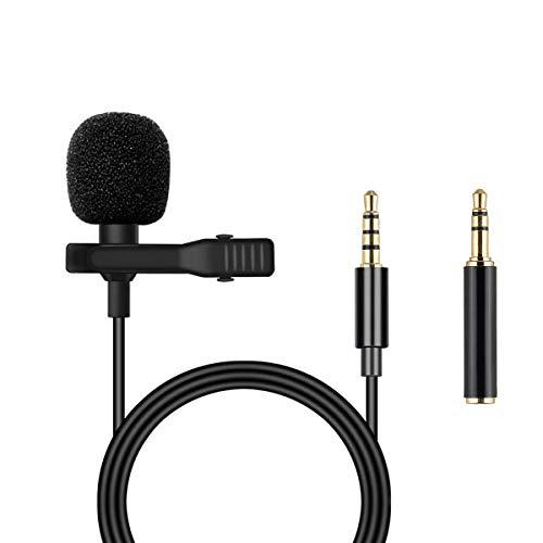 Micrófono Lavalier, micrófono omnidireccional de solapa con sistema de clip fácil, perfecto para grabar entrevistas/videoconferencias/podcast/voz/Vlog/YouTube