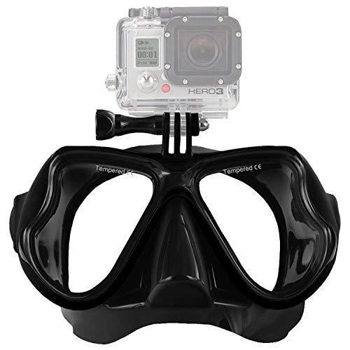 IXROAD Maschera Occhiali Snorkeling Subacquea Sub con Supporto per Action Cam (Nero)