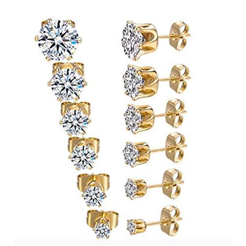 Crystal Geometric Color Accessories Personality Stud Earrings for Women,Women's Temperament Zircon Earrings,Alloy Earrings Piercing Hypoallergenic