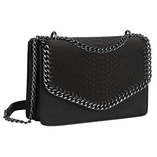 CRAZYCHIC - Damen Schlange Ketten Umhängetasche Snake PU Leder Schultertasche - Gesteppte Kettentasche Handtasche - Chains Messenger Crossbody Bag - Clutch Abendtasche Mode Trendy Fashion - Schwarz