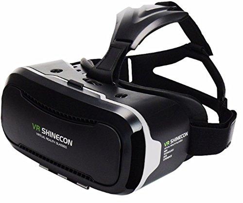 VR SHINECON VRメガネ 3Dゴーグル 頭部装着 4-6インチのスマホ適用 G-VR002 (黒 二代)