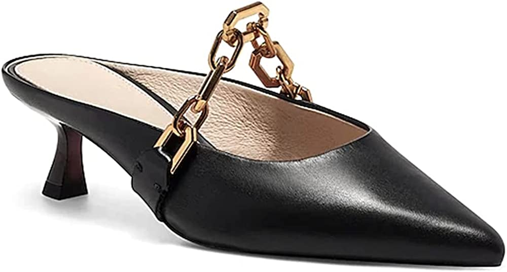 Trish Store Lucia Womens Mules Point Toe Stilettos Low Cha Special Campaign Heel Golden
