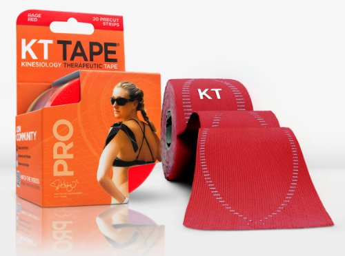 KT Tape Pro SYNTHETIC Kinesiology Elastic Sports Tape - Pain Relief and Support - 100% waterproof - 4.9m roll (Rage Red)
