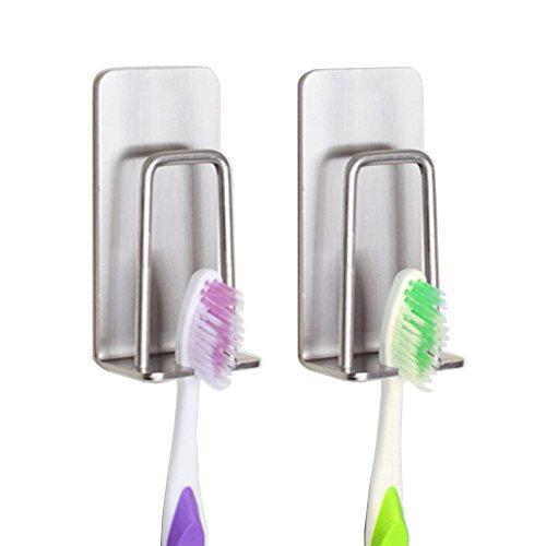 Zahnbürstenhalter, zahnbürstenhalterung, zahnputzbecher halter Wandhalterung Stark Selbstklebend Hohe Qualität Edelstahl Badezimmer Zubehör, 2 in 1 ( 2 Stück)