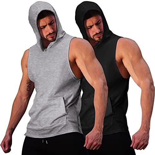COOFANDY Men's 2 Pack Workout Hooded Tank Tops Bodybuilding...