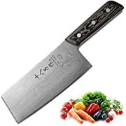 SHI BA ZI ZUO Chinese Meat Cleaver Vegetable Kitchen Cleaver Knife Superior Damascus Pattern Steel Knife with Ergonomic Design Comfortable Wooden Handle