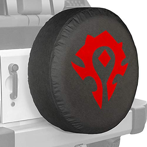 SUIBIAN World of Warcraft Spare Tire Cover, Horde Alliance Tire Cover Waterproof Dust-Proof American Flag Rv Wheel Covers for Jeep Liberty Wrangler SUV Camper Travel (16 inches) (16 inches, Horde)