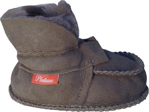 Plateau Tibet - ECHT LAMMFELL Baby Kinder Schuhe Booties Stiefel - HuggME, Grau - Gr. 18/19