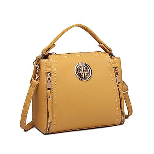 Miss Lulu Marca Mujeres Top Mango Bolsa Pu cuero cruzada bolso elegante bolso bolso pequeño clásico para mujer bolso de hombro (Amarillo) (Ropa)
