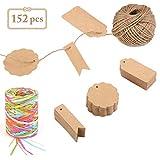Outgeek Gift Tags Price Tags Kraft Paper Tags Labels 150 PCS,Raffia Ribbon 6 Ply Colored Paper Ribbon,Jute...
