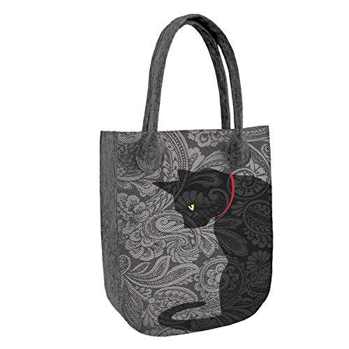 BERTONI CITY Handtasche aus Filz Filztasche Damentasche Tasche Shopper Katzen - Motiv