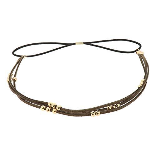 Khaki grün Damen Haarband - Goldene Perlen Suede Hairband, Samtaspekt - Einheitsgrößer Dünnes Stirnband - Hochzeit Vintage Headband - Original Look Boho, Hippie