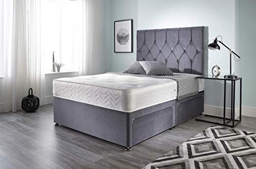 Bed Centre Ziggy Grey Plush Sprung Memory Foam Divan Bed Set With Mattress, 2 Drawers (Bottom Base) And Headboard (King (150cm X 200cm))