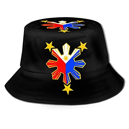 3 Stars and Sun Filipino Philippines Flag Bucket Hat Fisherman's Hat Summer Autumn Outdoor Packable Hat Beach Travel Sun Hat Black