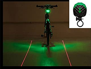 BlueSunshine 2 Laser + 5 LED 7 Modes Super Lighting Cycling Bicycle Bike Taillight Warning Flashing Lamp Alarm Light/LED Safety Light for Mountain Bike Cycling Water Resistant Rear Lights