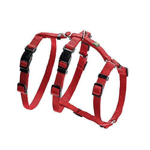 HUNTER VARIO RAPID Panikgeschirr für Hunde, Sicherheitsgeschirr, ausbruchsicher, Angsthunde, Nylon, S-M, rot