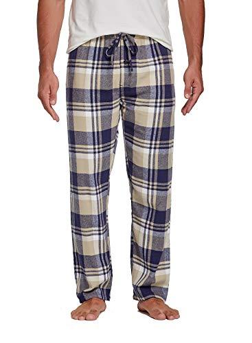Sahara Men's 100% Cotton Plaid Flannel Pajama Pants - Navy Beige Madras - M