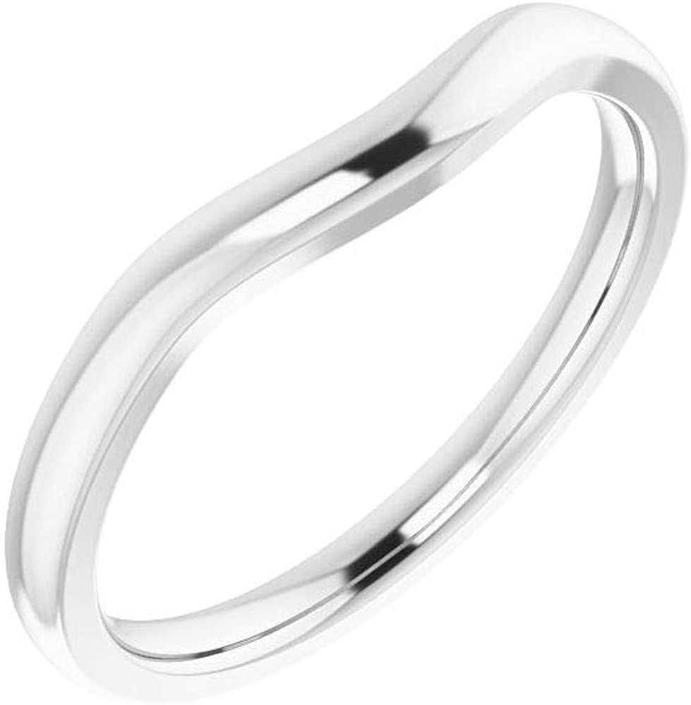 Solid Tampa Mall 14k White Gold NEW Matching Curved 9x for Band Wedding Notched