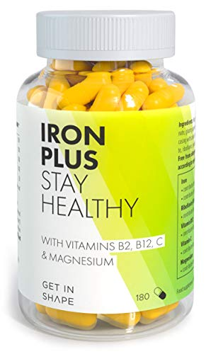 Iron Plus Vegan Iron Tablets with Vitamin C, B2, B12, and Magnesium. Highly Dosed, High Bioavailability, Helps Reduce Tiredness & Fatigue. 180 Capsules, 6-Months' Supply by GET IN SHAPE