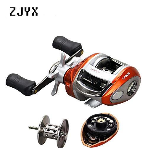 ZJYX Angelrolle, Angelrolle glatt Anti-Korrosions Casting Spinnrolle für Salzwasser und Süßwasserfischen,Orange,Right Hand