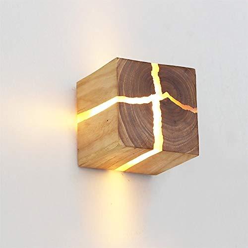 Wandleuchte Natur Gebrochen Holz Ursprüngliches Design Zucker Eiche Wand-Leuchter kreativer einfache quadratische Dekoration-Nachtwandleuchte Vintage-Wandleuchte ( Color : Larch Wood20cm Pull Switch )
