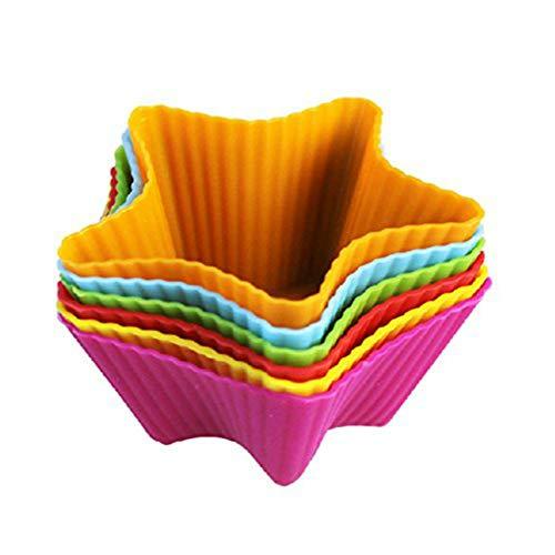 Chilits Moldes de silicona para magdalenas, coloridos en forma de estrella, reutilizables, antiadherentes, resistentes al calor, moldes para tartas, helados, pudines (color al azar)