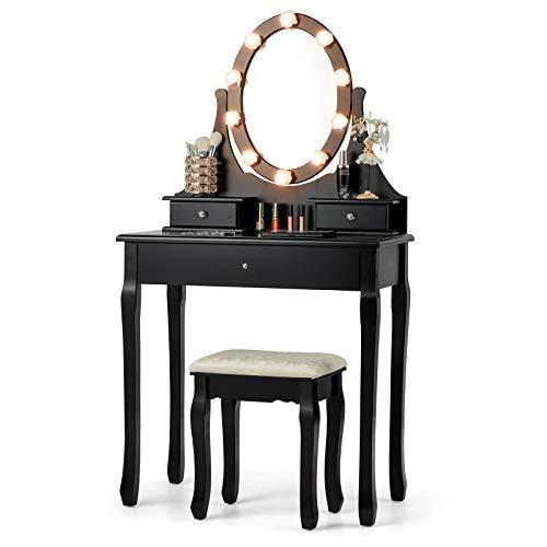 DREAMADE Schminktisch Set Holz, Schminktisch mit Hocker und Spiegel, Kosmetiktisch mit Schubladen, Frisiertisch Make-up Tisch (Schwarz)