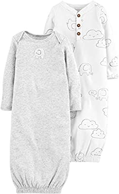 Carter's 2-Pack Baby Soft Sleeper Gowns Unisex Elephant & Clouds,White,Preemie