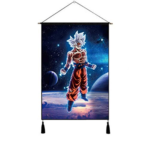 Premium Hanging Poster Canvas Wall Art, Son Goku Poster Planet Goku Anime Tapestry Plush Scroll With Tassels, Decoration For Home Dorm Office -18 X 26 In