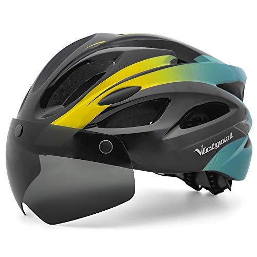 VICTGOAL Fahrradhelm MTB Helm LED Licht mit Abnehmbarer Schutzbrille Fahrradhelm mit Visier CE Zertifiziert Fahrradhelm für Unisex Herren Damen 57-61 cm (Schwarz Cyan)