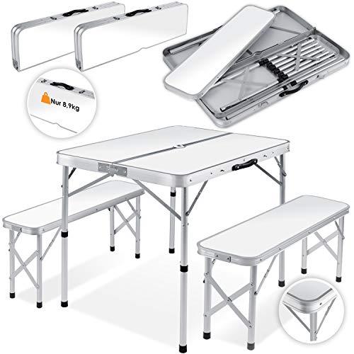 Kesser® - Koffertisch mit 2 Sitzbänke 3tlg Campingmöbel Set Aluminium | Totalmaße geklappt 91x10x34 cm | Campingtisch Klapptisch Picknick | Inkl. Schirmhalterung | Tragegriff | MDF | Klappbar Weiß