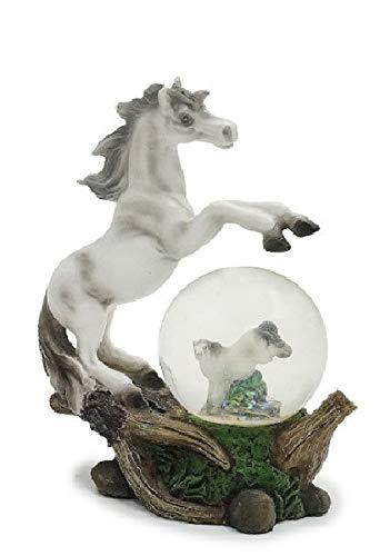 Euro Souvenirs Glitzerkugel Pferd, weiß, Schneekugel Tier Tiere Schneekugeln Pferde