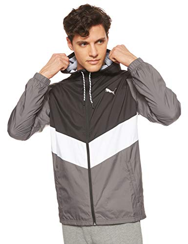 PUMA Herren Reactive Wvn jacket Trainingsjacke, Black-Castlerock White, L