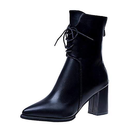 Dameslaarzen Knuffelige hak wees teen PU laarzen/enkellaarzen herfst winter zwart/groen