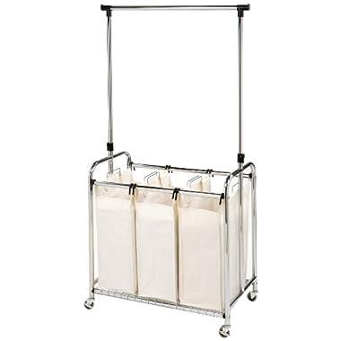 Seville Classics Mobile 3-Bag Heavy-Duty Laundry Hamper Sorter Cart /w Clothes Rack