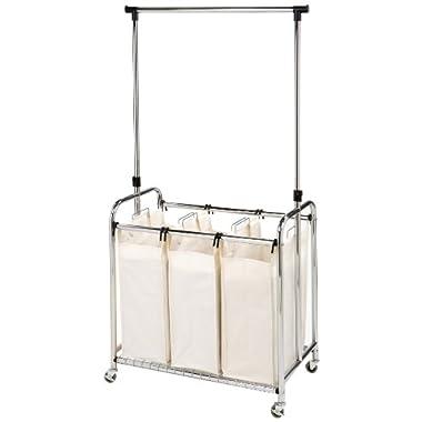 Seville Classics Mobile 3-Bag Heavy-Duty Laundry Hamper Sorter with Clothes Rack Cart, Chrome