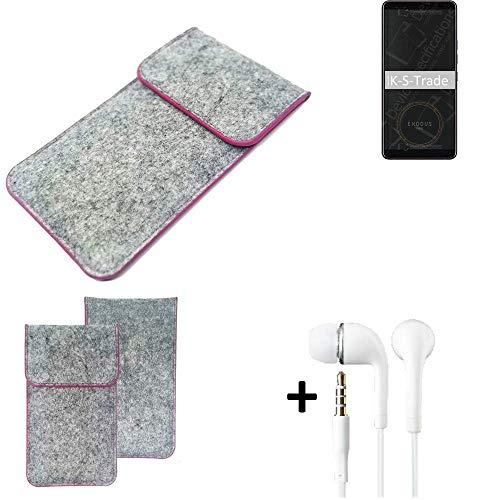 K-S-Trade Filz Schutz Hülle Für HTC Exodus 1 Schutzhülle Filztasche Pouch Tasche Hülle Sleeve Handyhülle Filzhülle Hellgrau Pinker Rand + Kopfhörer