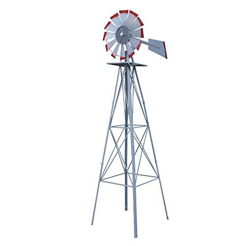 Nova Microdermabrasion 8' Ornametal Steel Windmill Yard Garden Wind Mill Weather Vane Weather Resistant (Silver)