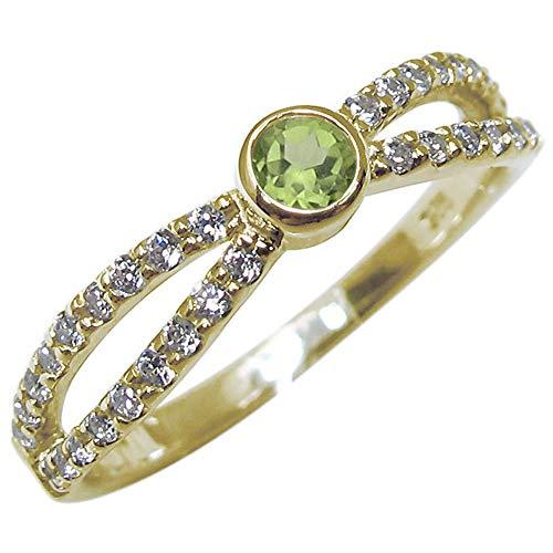 [プレジュール]イエローゴールド K18 指輪 8月誕生石 一粒 ペリドット リング リングサイズ9号